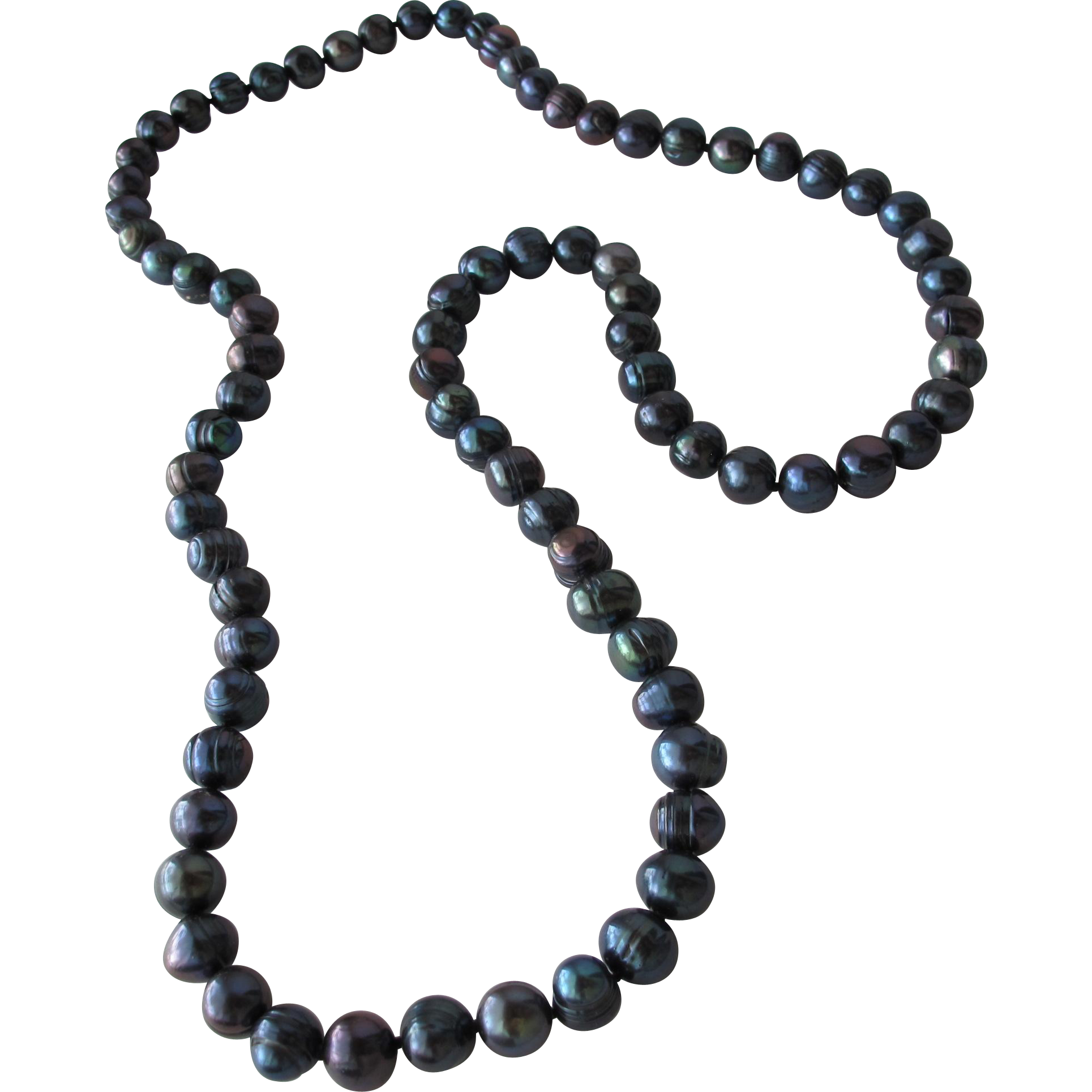 Pearls of Black Cultured Baroque Strand from Tahiti 7mm