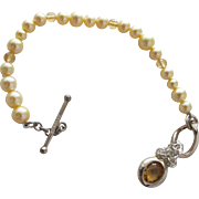 Cultured Pearl Bracelet with Crystal Beads and Sterling Silver Clasp Charm