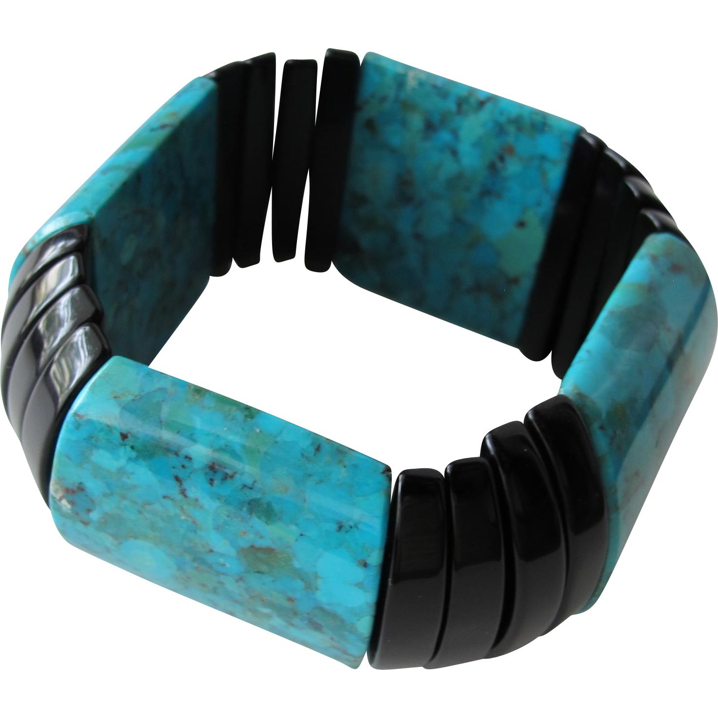 Turquoise and Black Stretch Bracelet Simulated