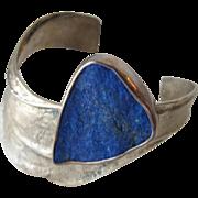 Bracelet of Lapis Lazuli Semi Precious Raw Stone  Sterling Silver Mexico 925 Indian Jewelry