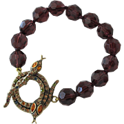 Crystal Beaded Bracelet with Jeweled Snakes for Latch