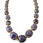 Necklace of 14K Gold and Amethyst Quartz Stones Beaded Necklace.