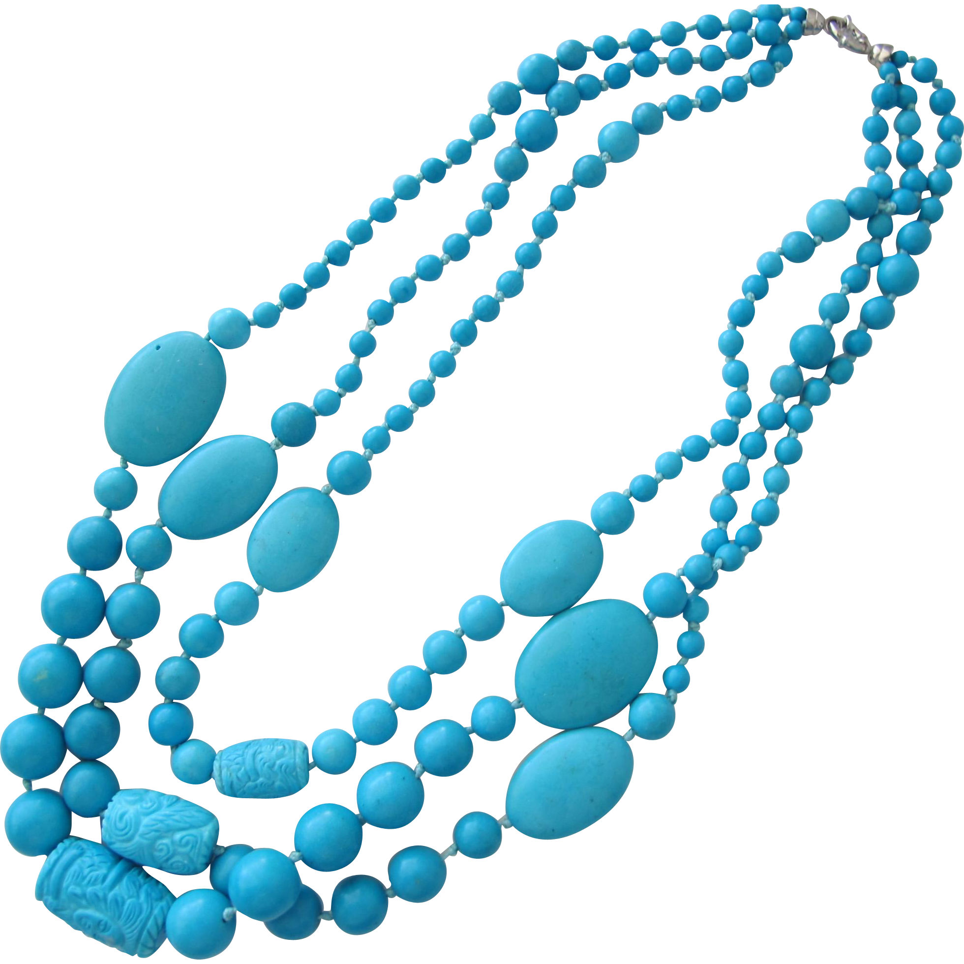 Turquoise Necklace of Carved Beads with Sterling Silver Clasp Gorgeous