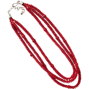 Coral Necklace Three Strands with Sterling Silver Clasp