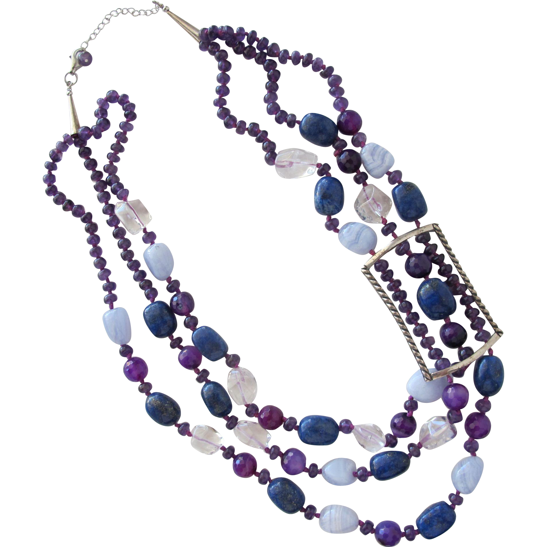 Necklace of Lapis Stone Amethyst Quartz Glass Beads and Sterling Silver
