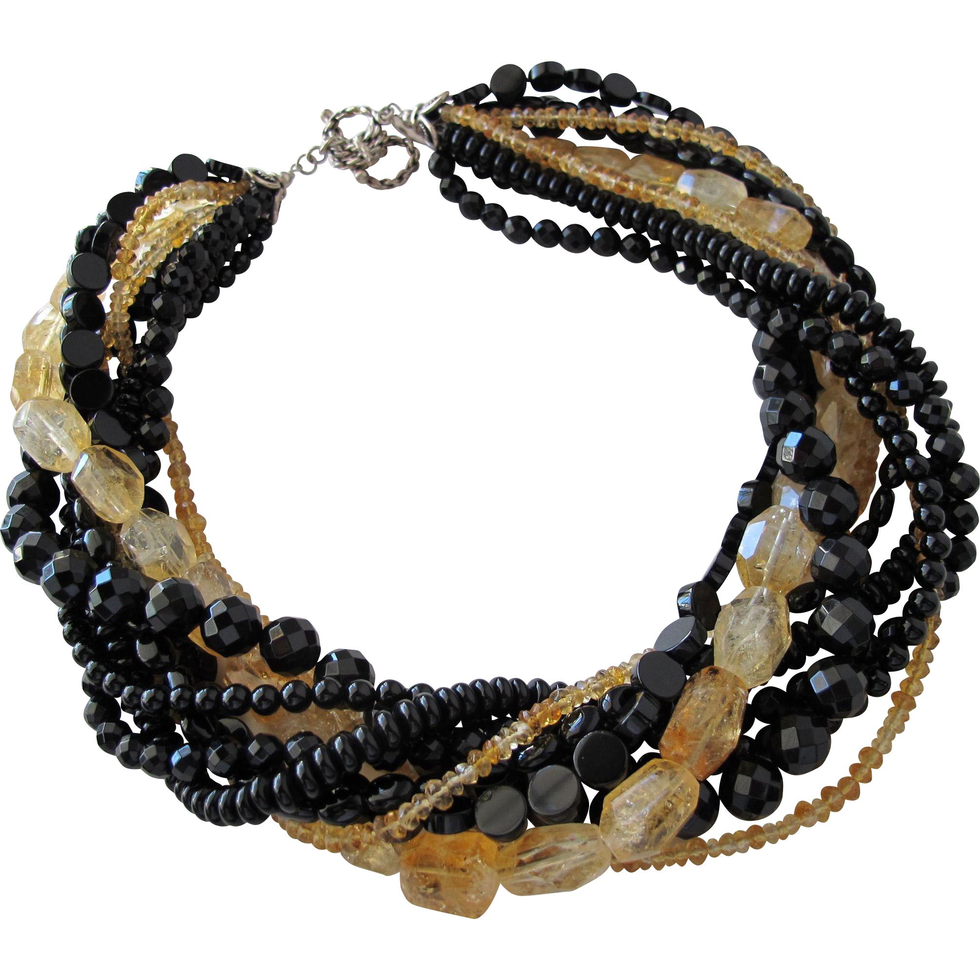 Necklace Strands of Amber Quartz and Onyx Stone Sterling Silver Clasp Designer Piece