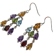 Chandelier Earrings with Genuine Gemstones and Sterling Silver
