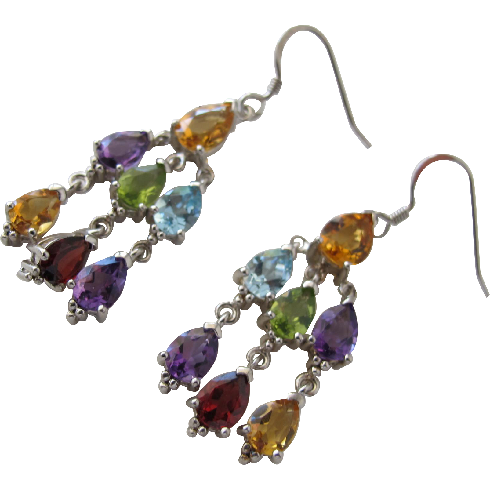 Chandelier Earrings with Genuine Gemstones and Sterling Silver