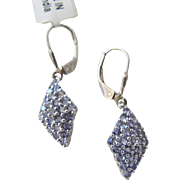 Amethyst  Earrings Gemstones in Diamond Shape Sterling Silver Never Worn