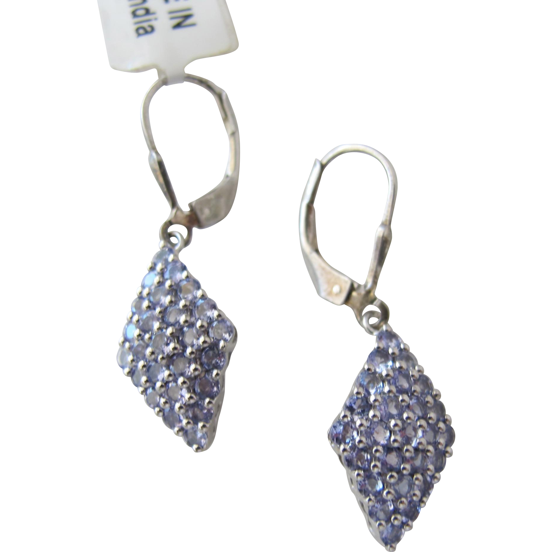 Amethyst  Earrings Gemstones in Diamond Shape Sterling Silver Never Worn