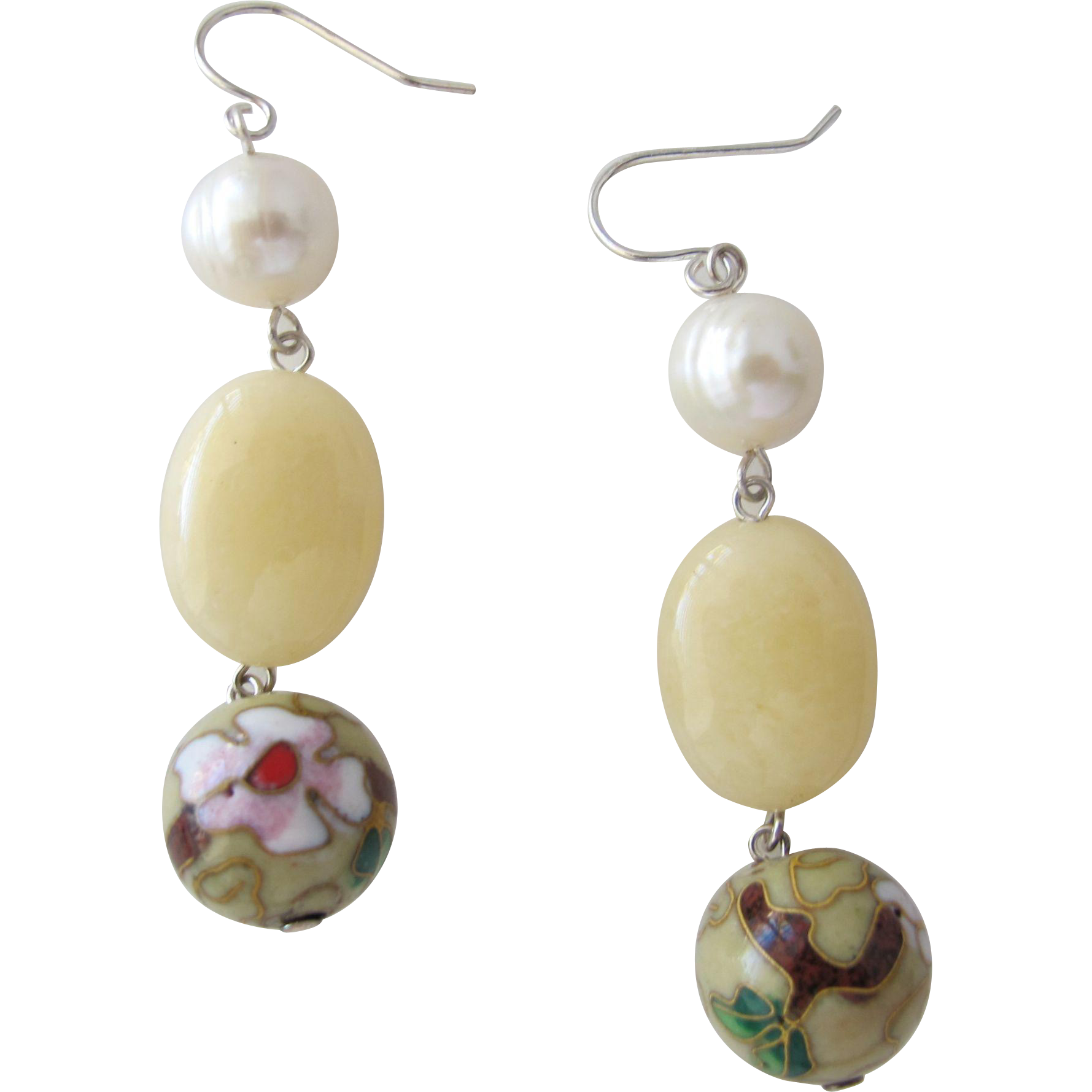 Cultured Pearl Earrings with Cloisonne Beads Sterling Silver Posts