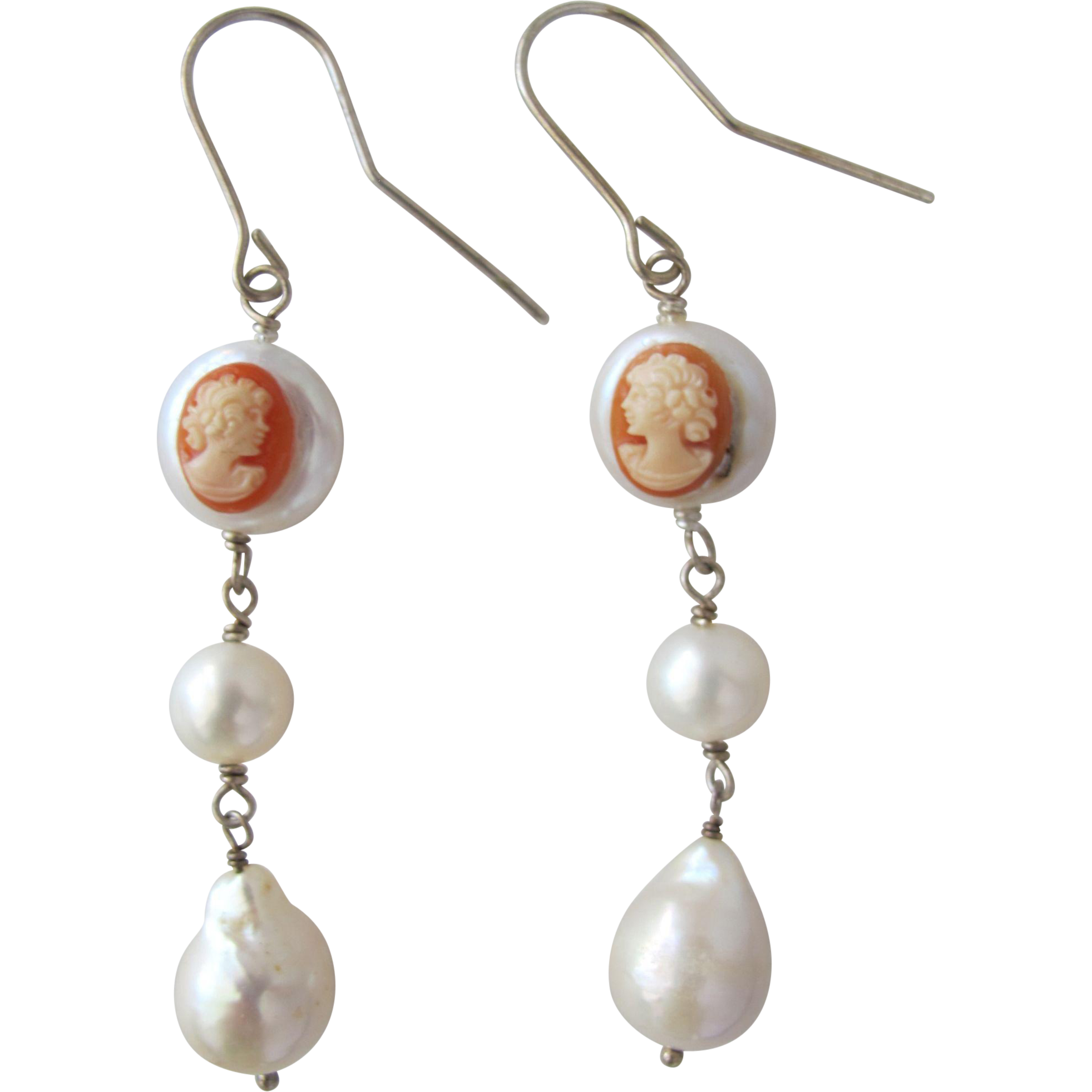 Pearl Earrings with Carved Cameos from Italy