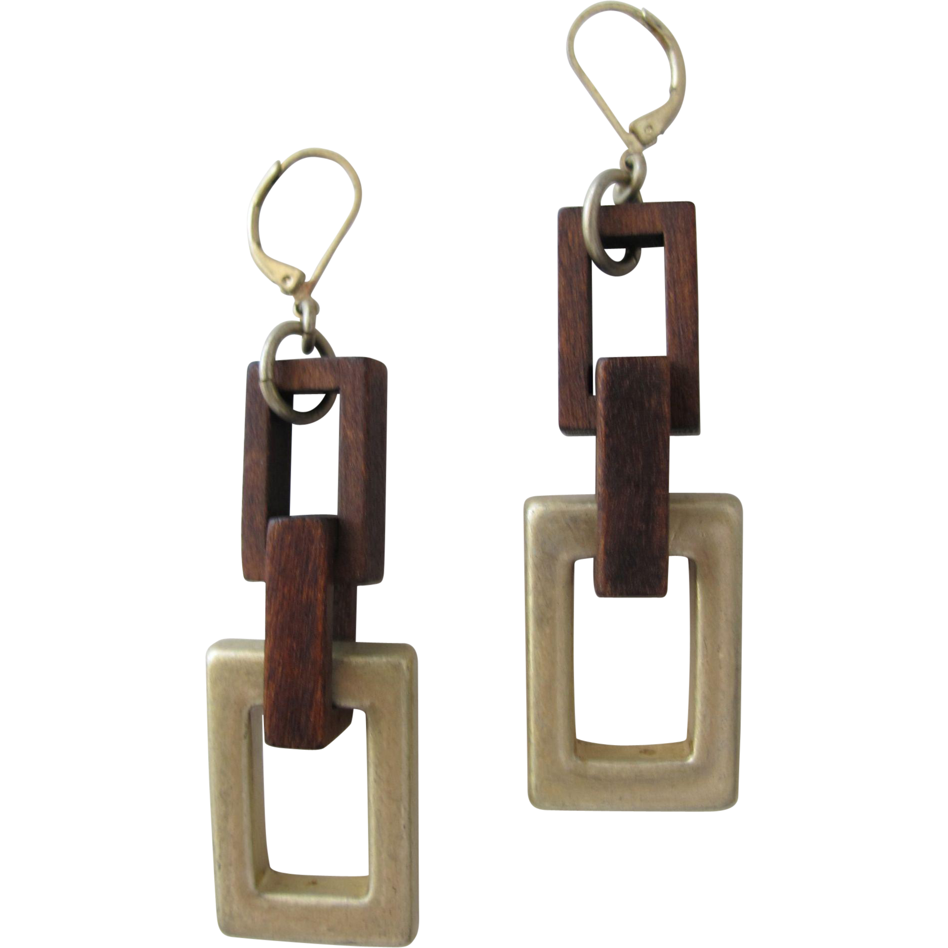 Earrings Vintage Modern Wood and Metal Pierced