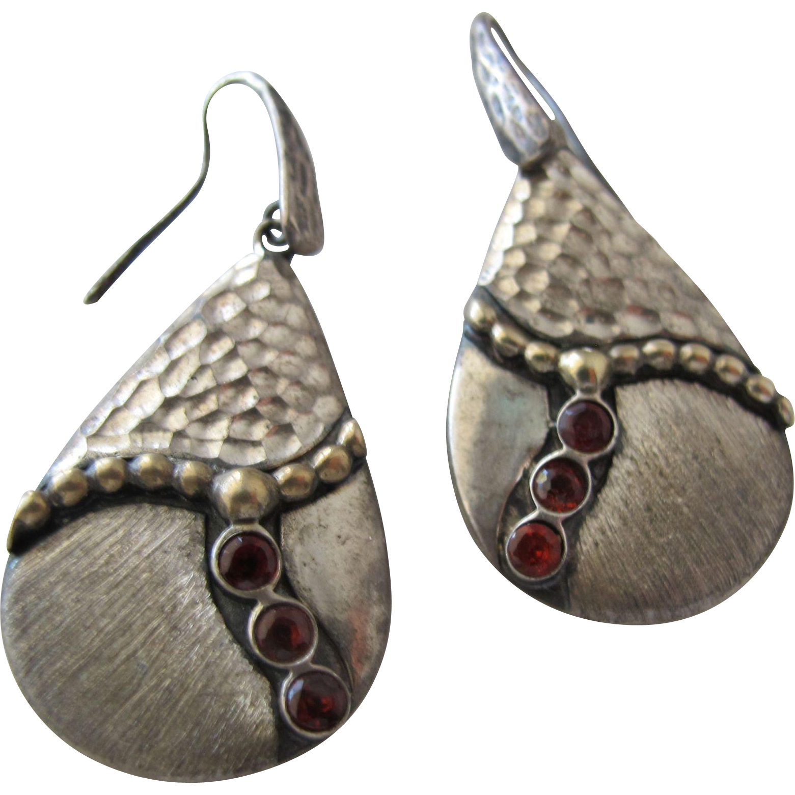 Pierced Earrings in Sterling Silver with Gemstones Marked Italy