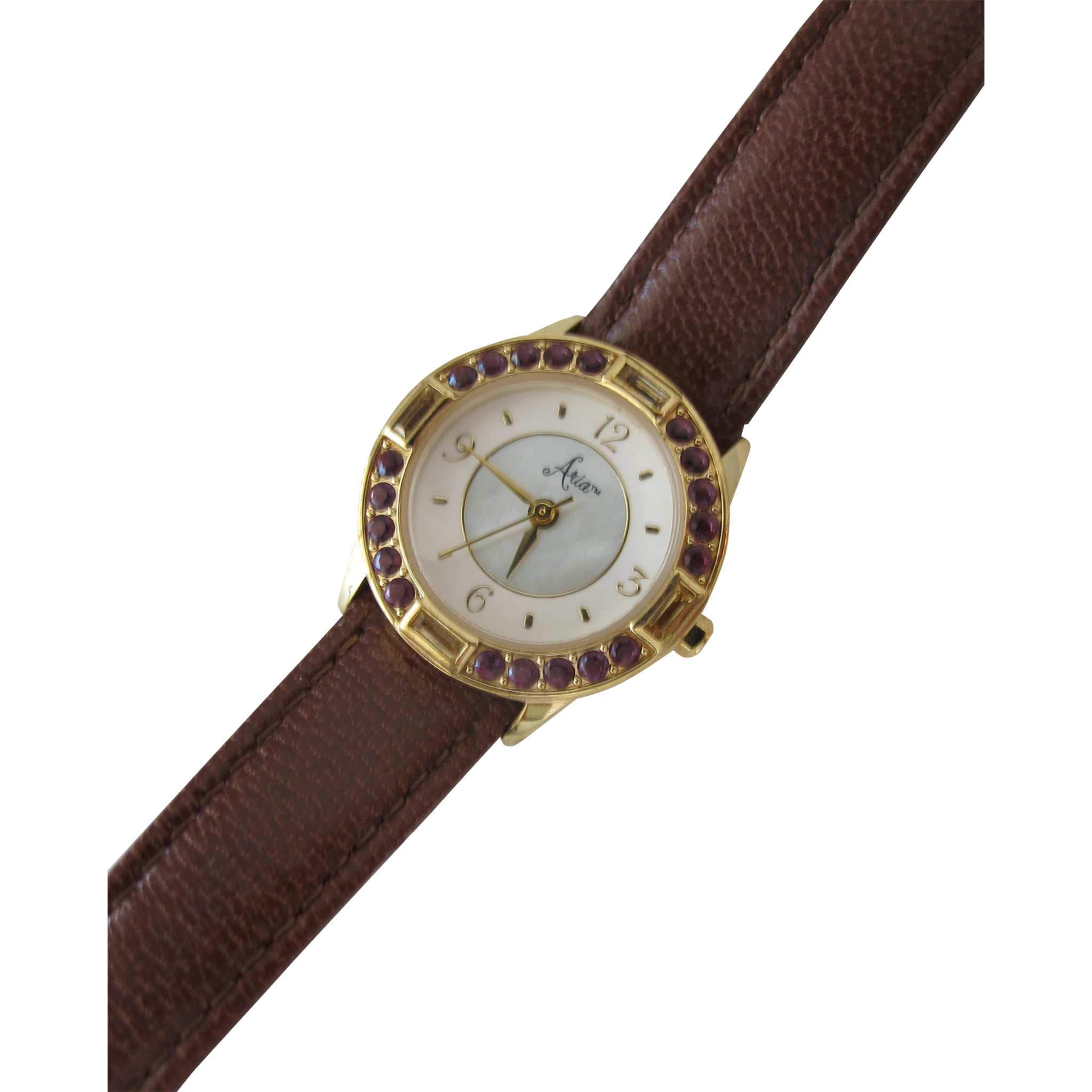 Watch with MOP Face and Genuine Leather Band with Red Stones