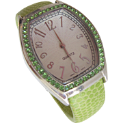 Bracelet Watch Large Numbers Easy Read  with Green Stones