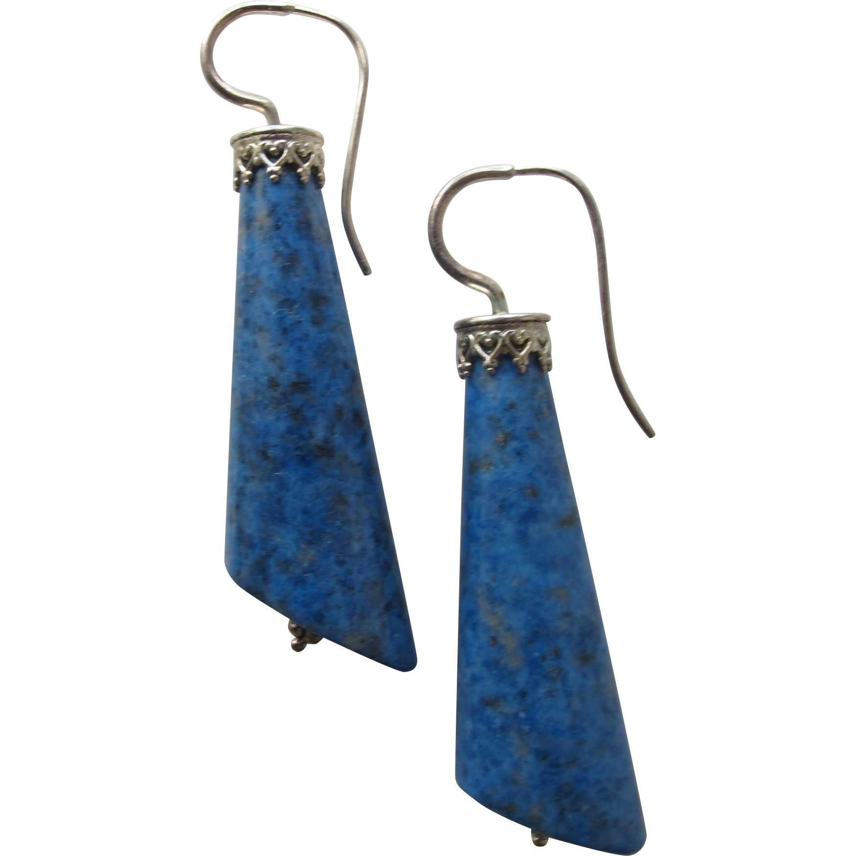 Pierced Earrings with Lapis Lazuli Stones and Sterling Silver