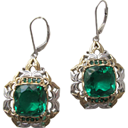 Earrings Sterling Silver Brazilian Cut Green Quartz Glass Ekaterina Gems-en-Vogue-