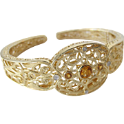 Sterling Silver Bracelet Gold Plated Filigree Light and Comfortable