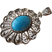 Sterling Silver Pendant with Turquoise Stone Marked 925 Silver Filigree