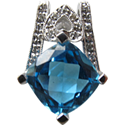 Blue Topaz Pendant with Diamonds 14K White Gold