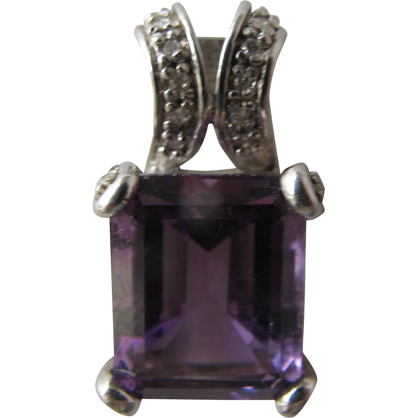 Amethyst Pendant with Diamonds in Sterling Silver Marked Lenox