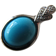 Turquoise Pendant Detailed in Diamond Points in Sterling Silver Great Clasp