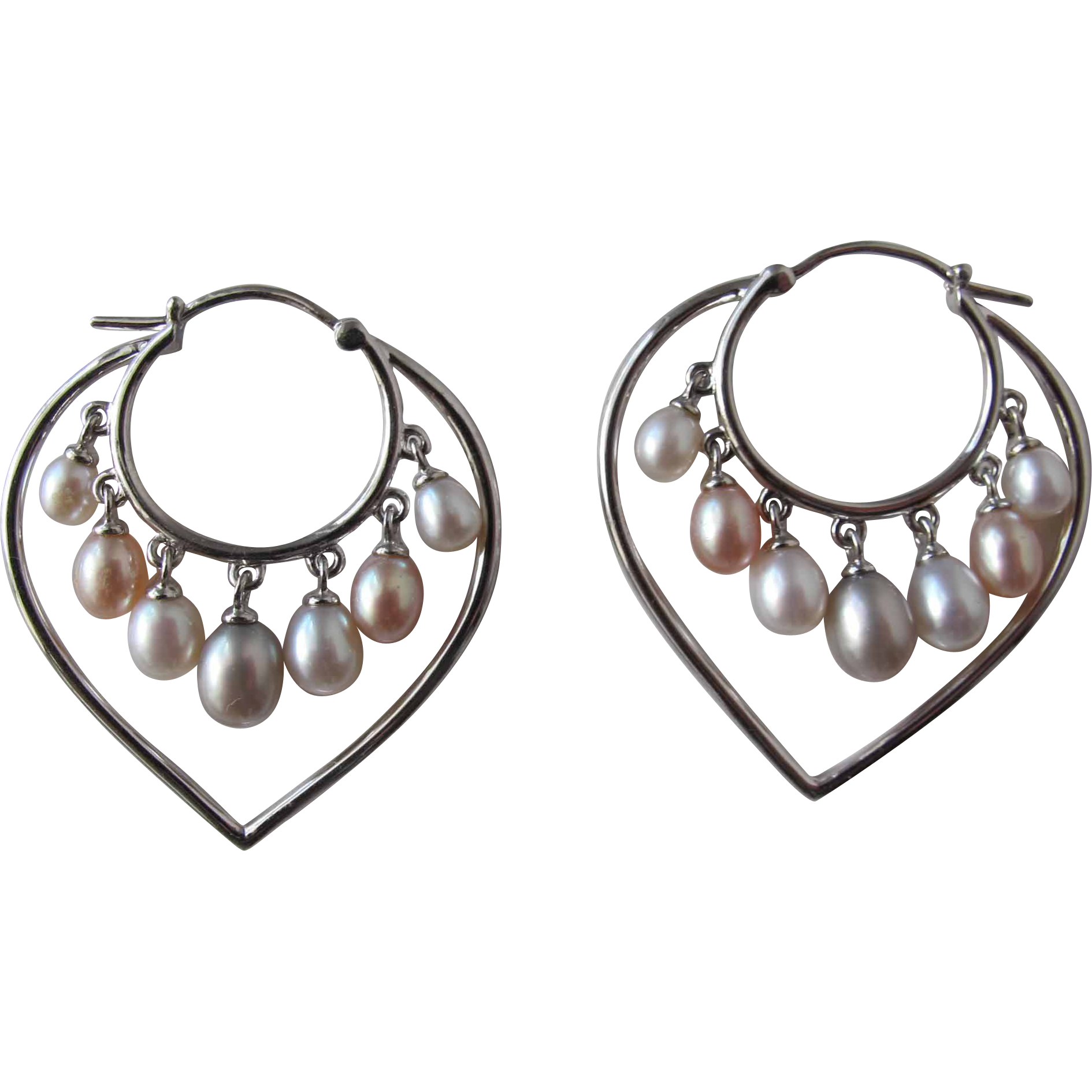Pearl Earrings with Heart Shaped Pierced Earrings with Cultured Fresh Water Pearls
