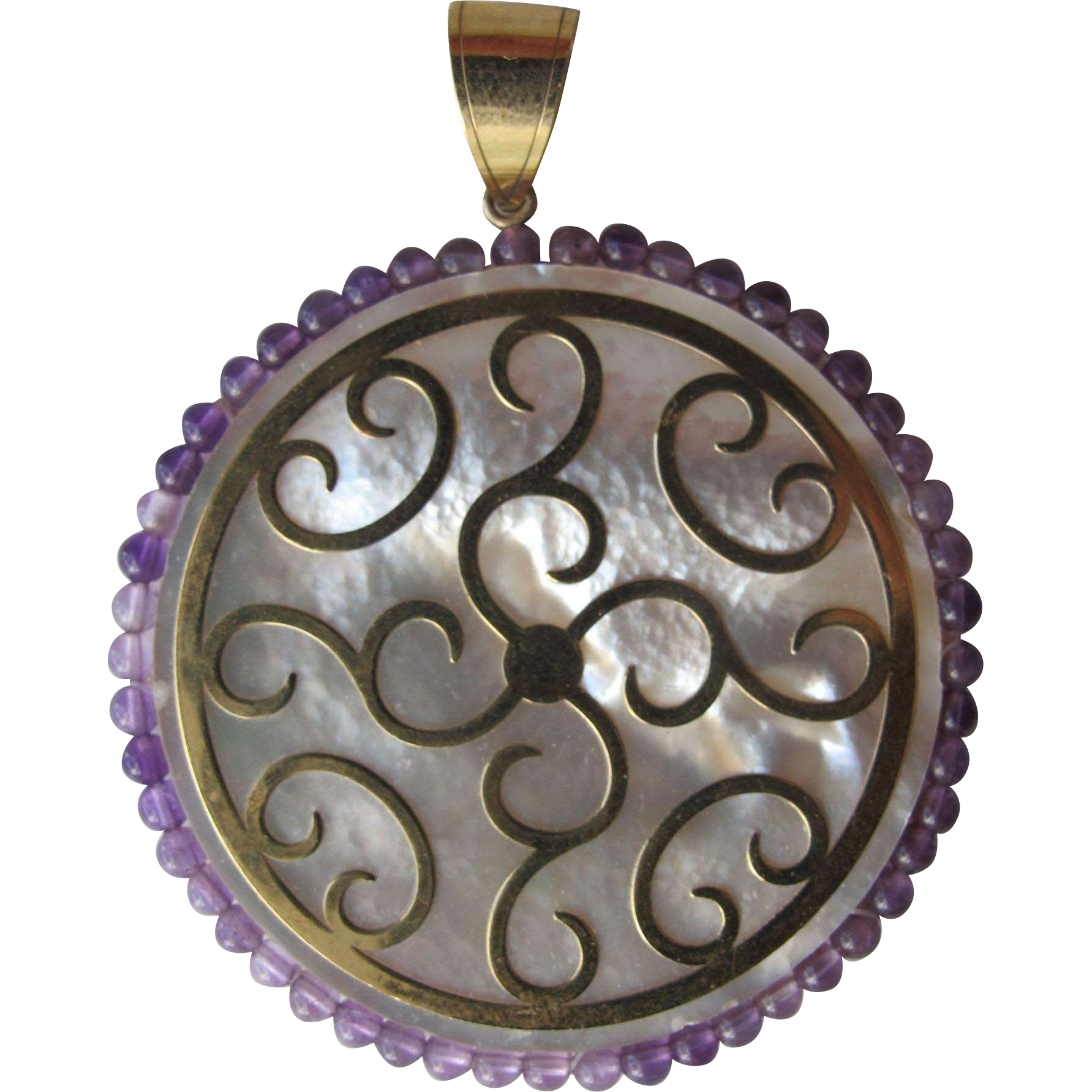 Pendant of 14K Gold Mother of Pearl and Amethyst Beads