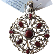 Pendant of Sterling Silver and Cut Coral or Carnelian Agate Marked 925