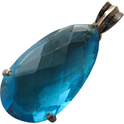 Blue Topaz Pendant in Sterling Silver Pear Cut 23.9 Carat Topaz