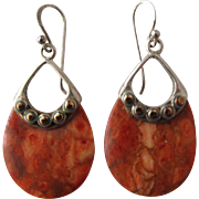 Pierced Earrings in Sterling Silver Copper and  Sponge Coral Earrings by Designer Barse
