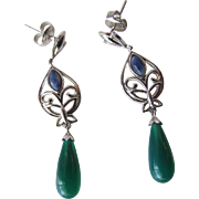 Earrings in Jadeite Drops and Sterling Silver Butterflies Pierced Earrings