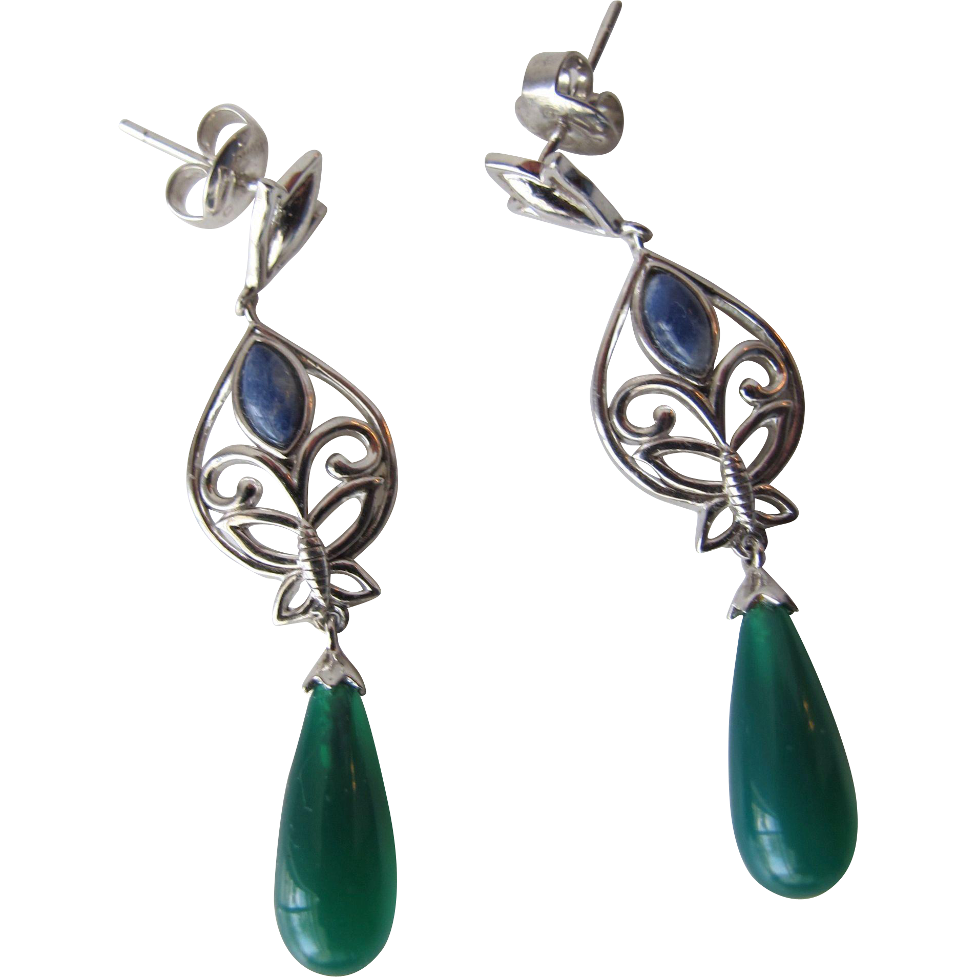 Earrings in Jadeite Drops and Sterling Silver Butterflies Pierced Earrings