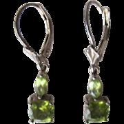 Peridot Pierced Earrings with Sterling Silver