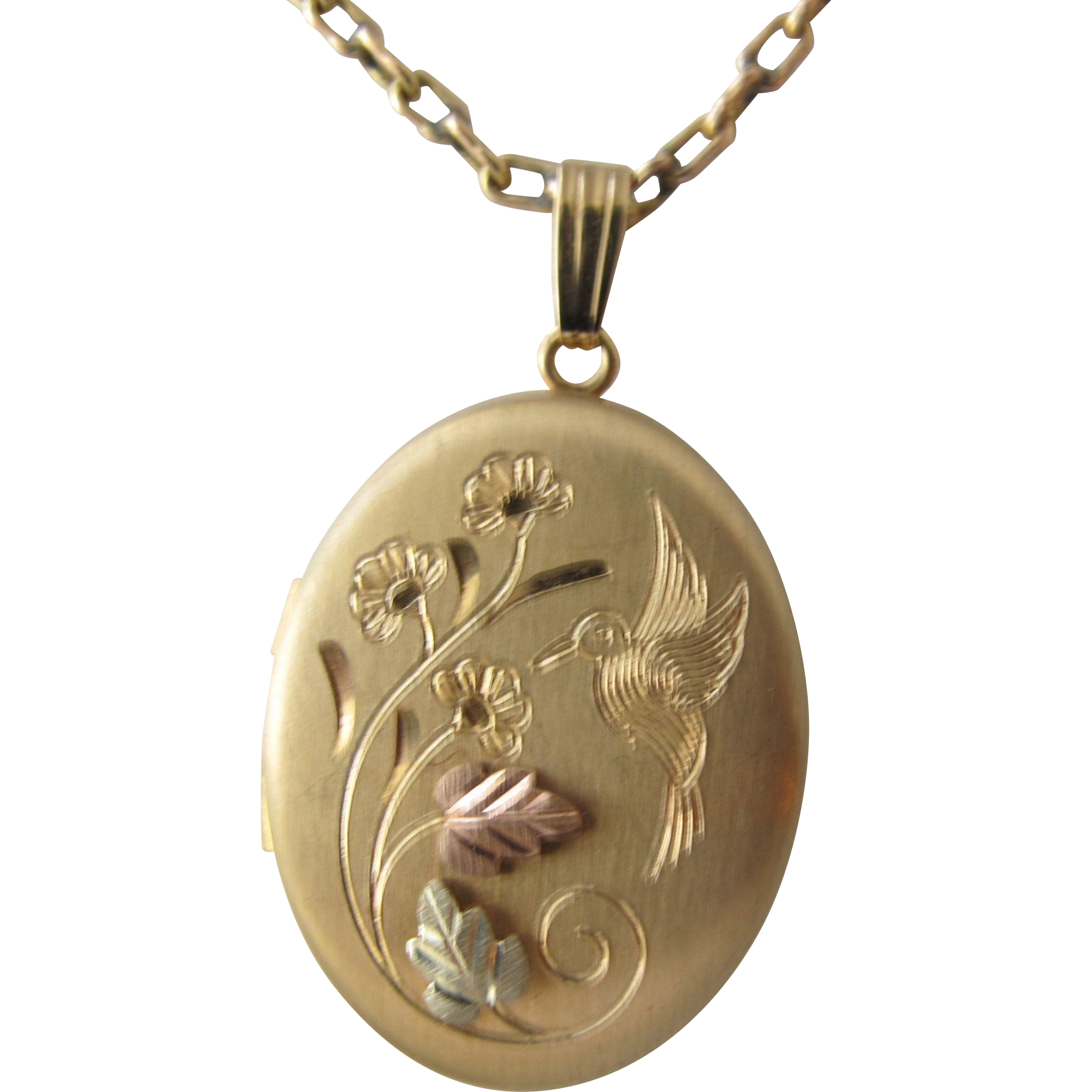Vintage Gold Chain Locket in Tri Color with Chain Hummingbird and Flowers