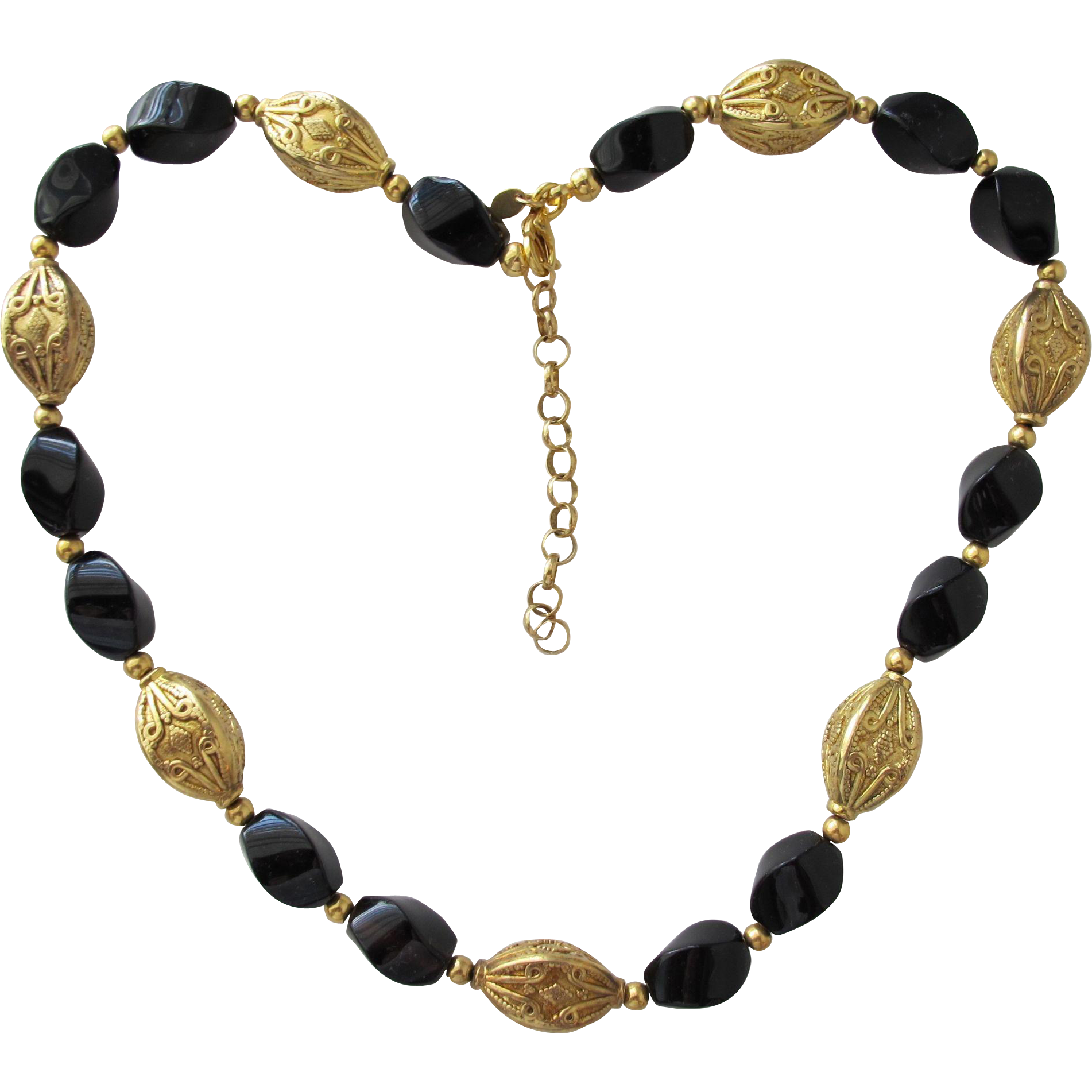 Necklace Made in Italy Gold Vermeil and Black Glass Beads