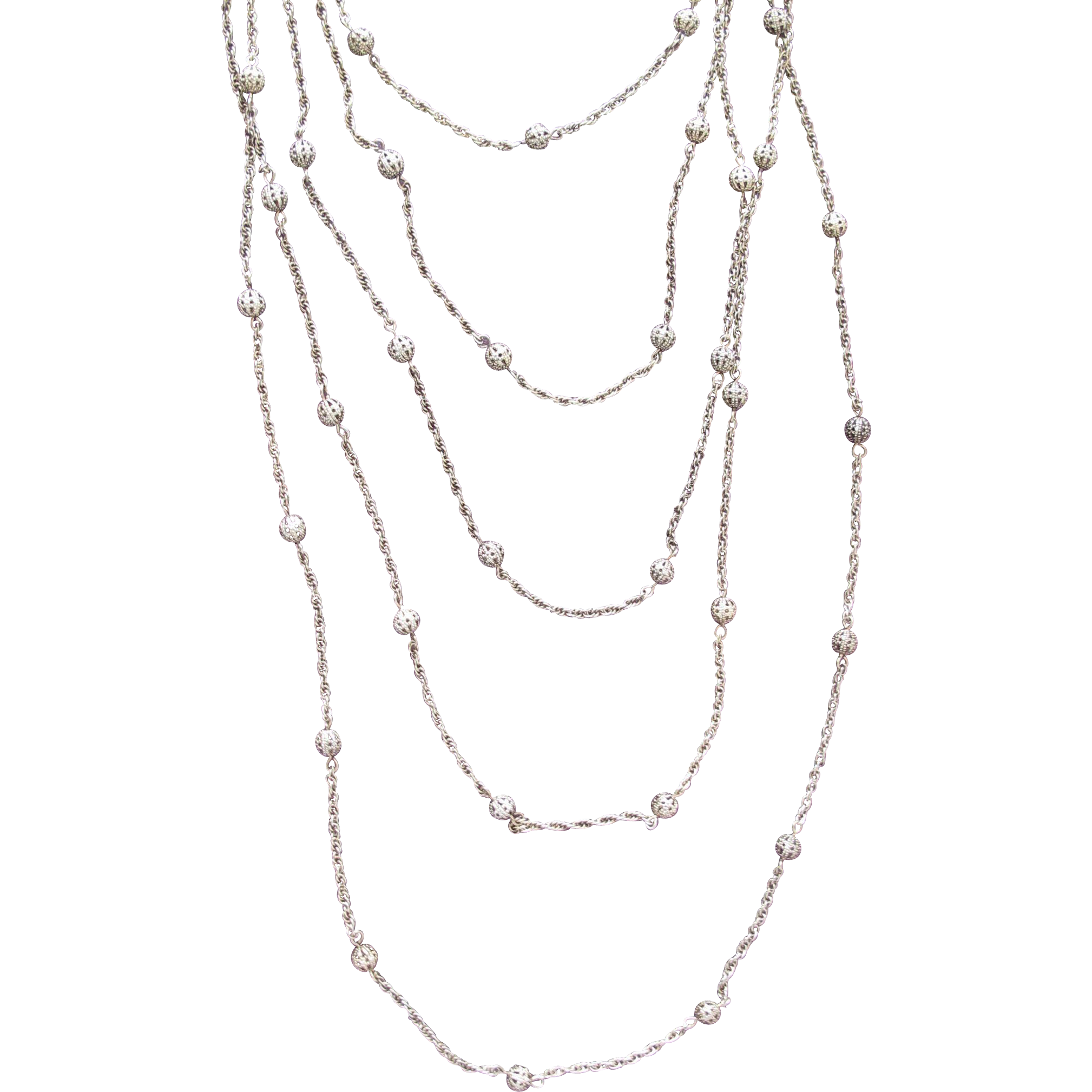 Monet Chain Necklace Gold Tone Five Chains with Ornate Beads