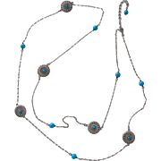 Sterling Silver Chain Necklace with Turquoise Beads