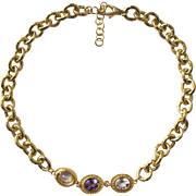 Gold Vermeil Large Chain Necklace with Cut Stones Italy