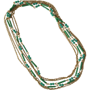 Vintage Chain Necklace with Jade Beads 1960's