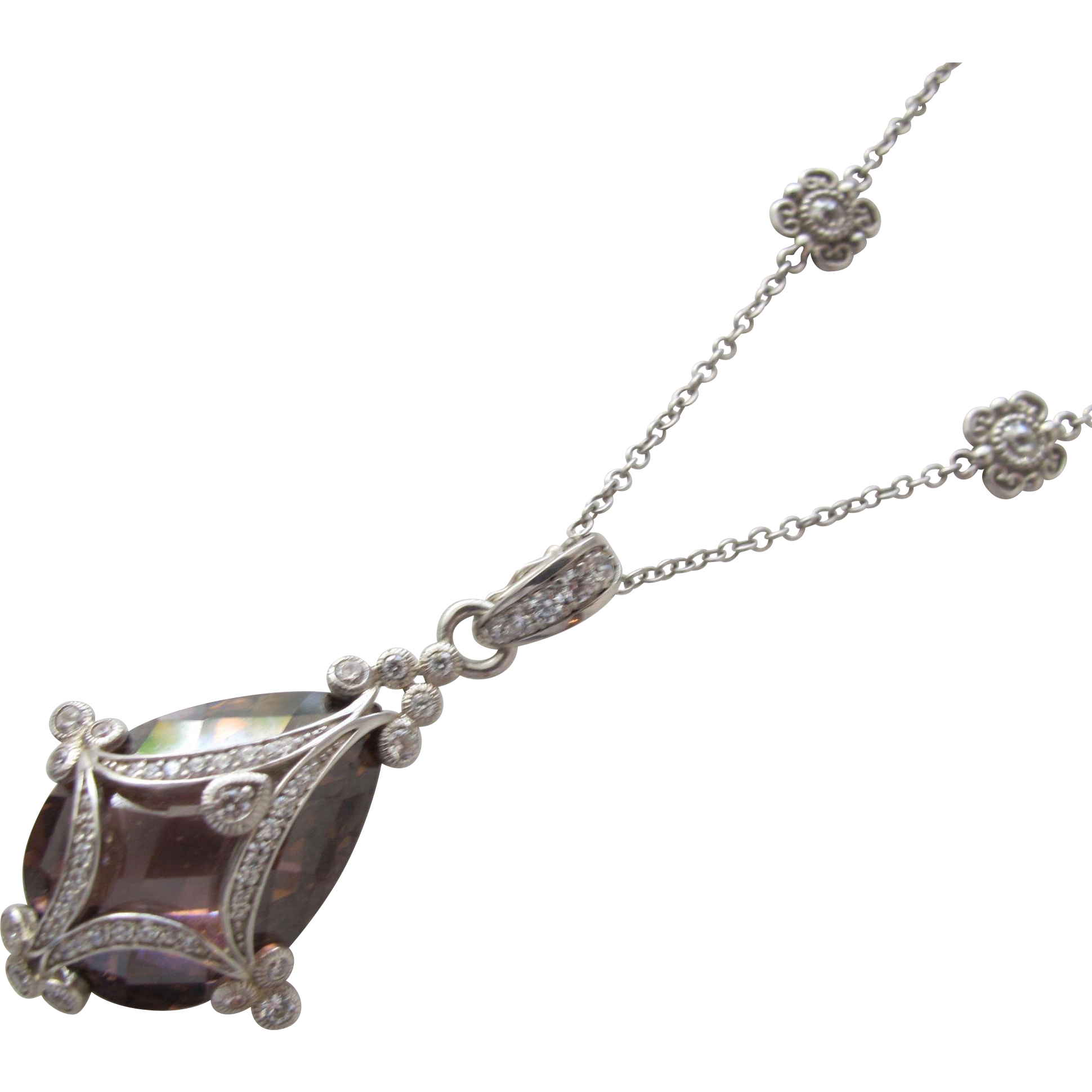 Stunning Sterling Silver Chain Necklace with Jeweled Pendant