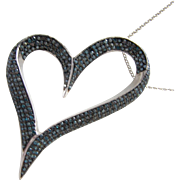 Sterling Silver Heart Necklace with Chain and Sapphires Color Stones Pave Style