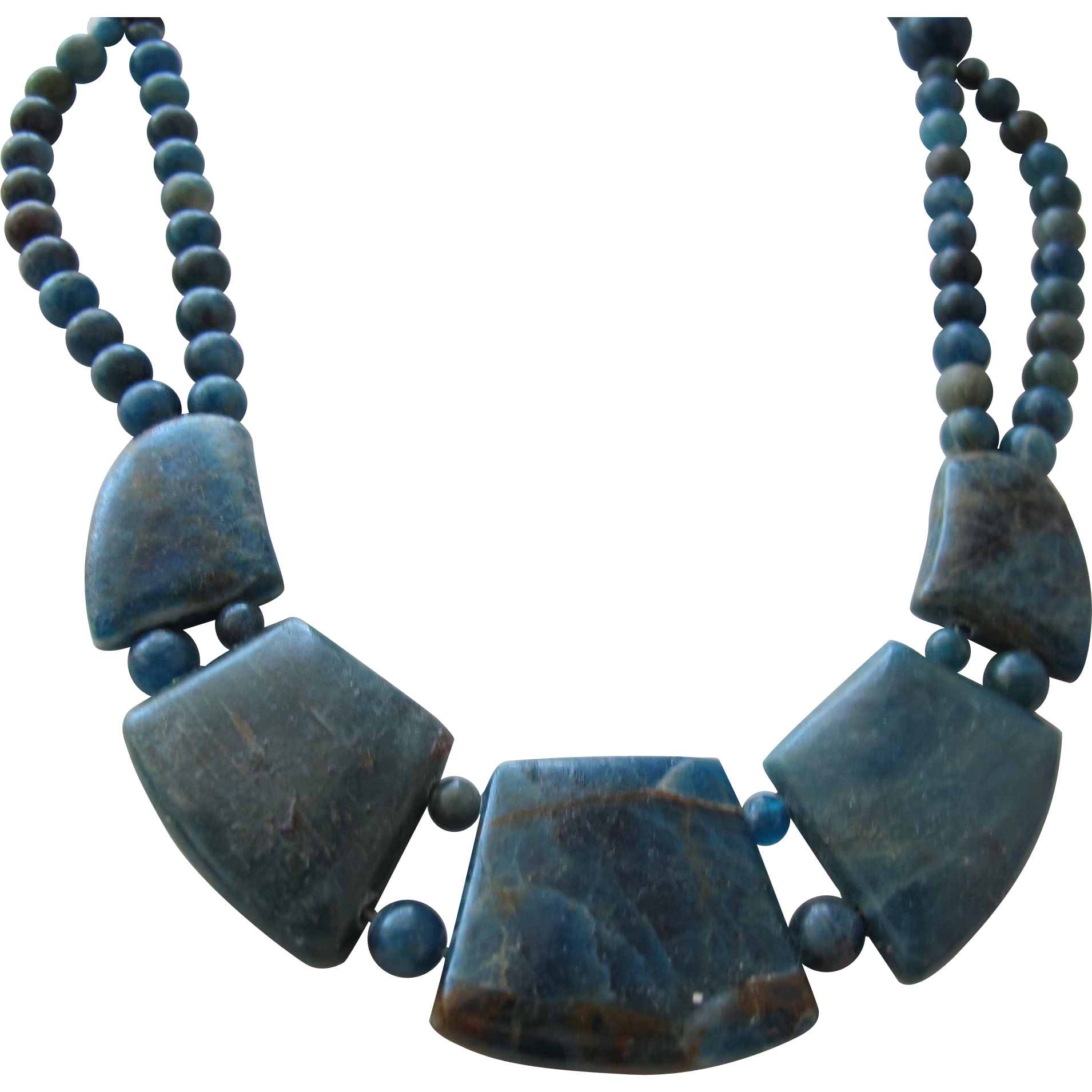 Natural Stone Necklace of Blue Polished Stone with Sterling Clasp