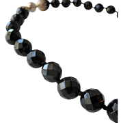 Onyx Black Glass Beaded Necklace with Sterling Silver Magnetic Clasp