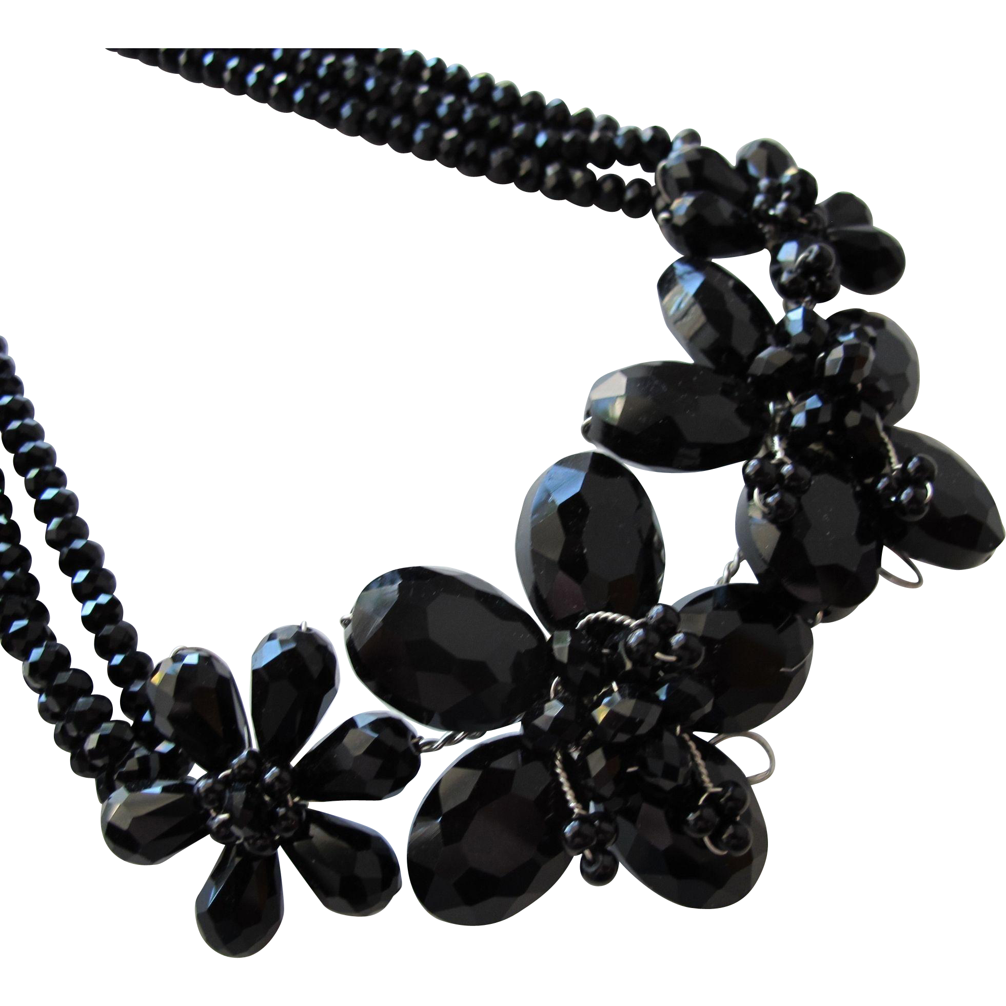 Necklace of Black Crystal Glass Beads with Flowers Vintage Unused