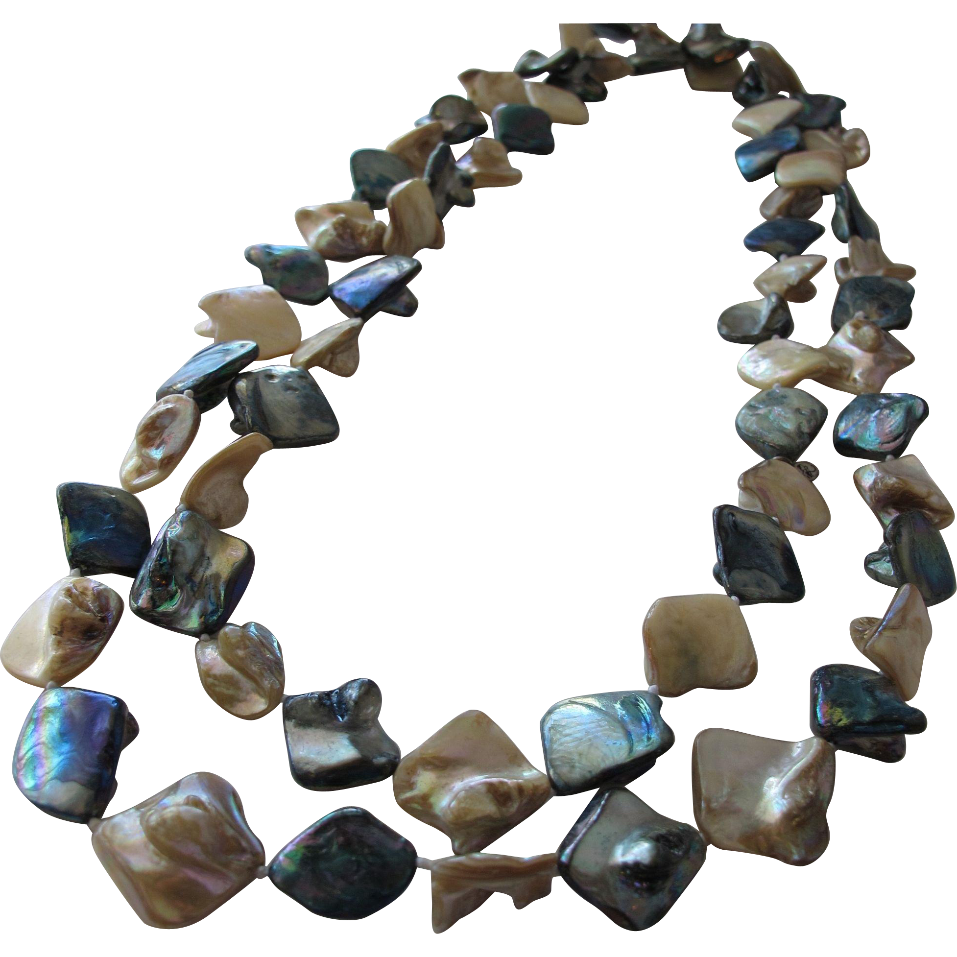 Necklace of Natural MOP and Abalone Beaded Necklace Vintage