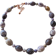 Necklace of Natural Purple Polished Stones