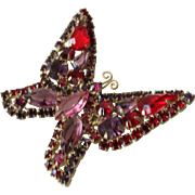 Rhinestone Butterfly Pin Brooch by Kramer 1950's Marked