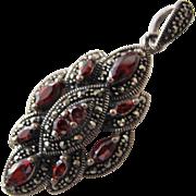 Garnet Pendant in Sterling Silver Vintage Pendant